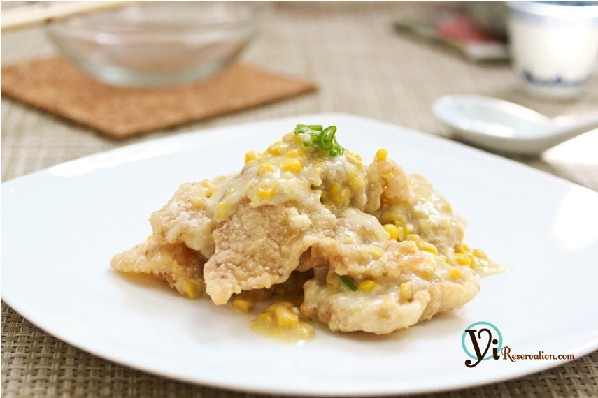 Fish fillets in creamy corn sauce yi reservation for Fish fillet sauce